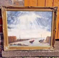 Oil on Canvas Nautical Boats Sea After the Storm in Superb Gilt Frame
