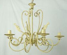 lampadario 5 luci led avorio antico ferro forgiato artigianale rustico ART.634