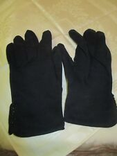Vintage Crescendoe navy cotton Ladies Gloves leather tailored size 7