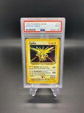 Pokemon Cards 1999 Base Set Unlimited Zapdos Holo 16/102 PSA 9 MINT