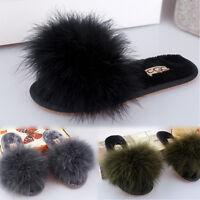 Genuine Fur Leather Ostrich Flip Flop Slipper Flat Platform Sandal Slide Mule