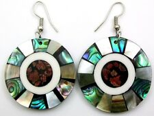 Abalone Shell Earrings ;Ca333 Mother Of Pearl, Red Coral,