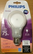 4 Pack/Philips LED Lights 75W=13w Soft White 2700K SlimStyle A21 LED light bulb