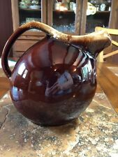 Vintage - Hull Oven Proof Usa - Brown Country Pitcher w/Ice Lip - Rounded