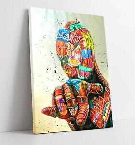 GRAFFITI SPIDERMAN -DEEP FRAMED CANVAS WALL SPLASH ART PICTURE PAPER PRINT- RED