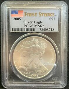 2005 $1 AMERICAN SILVER EAGLE FIRST STRIKE S$1 PCGS MS 69 718