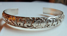 HEAVY 99 STERLING SILVER CHINESE CUFF BRACELET NOT FOR EXPORT MARKS