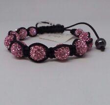 Lucet Mundi Ladies Light Pink Crystal and Hematite Shamballa Bracelet PB047