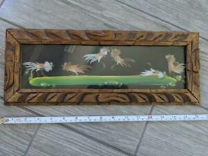 MID CENTURY vintage COCK FIGHT feather art FOLK mexico painting ROOSTER wooden