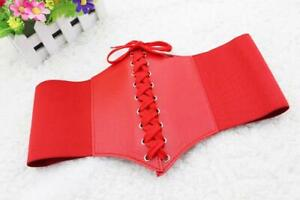 Women's Accessories Stretchy Artificial Leather Wide Waist Red Belt Corset