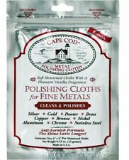 CAPE COD Fine Metal Polishing Cloths, Polish Silver, Gold Jewellery, 2pc inside