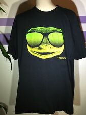 Geico Gecko Tshirt Mens Xl Extra Large Black Tee Neon Lizard Groovy Short Sleeve