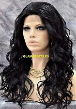 Long Wavy Layered Jet Black Full Lace Front Wig Heat Ok Hair piece #1 NWT