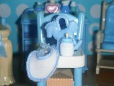Blue Baby Bottle Feeding Set Bib fits Fisher Price Loving Family Dollhouse Baby