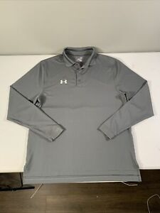 Men's Under Armour Heat Gear Long Sleeve Polo Shirt Size L Gray Polyester