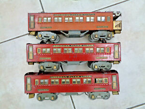 American Flyer 1930s Standard Gauge Three Red Passenger Cars, Solid Project 4331