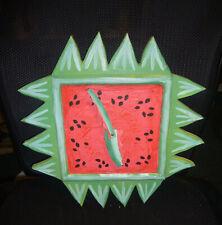 WOODEN WATERMELON CLOCK, ONE OF A KIND, HANDMADE/CUSTOM MADE 1990, UNUSED