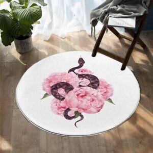 Floral Snake Round Area Rug Pink Flower Carpets For Living Room 150cm