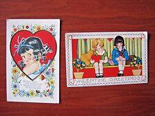 2 vintage Postcards- Valentine, valentines greetings - Heart love