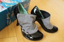 IRREGULAR CHOICE FLICK FLACK black polka dot striped women pumps shoes 38 US 8