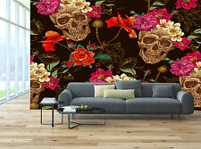 Black Pink Red Sugar Skull Floral Wall Mural Photo Wallpaper GIANT WALL DECOR