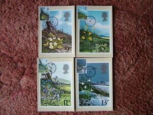 PHQ Card set FDI Front No 34 British Flowers 1979. 4 card set.  Mint Condition.