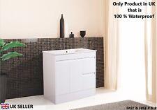 900mm Bathroom Furniture Vanity Unit Soft Close Door Gloss with Ceramic Basin
