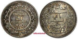 TUNISIA Muhammad V Silver AH1335 1916 A 50 Centimes aUNC Toned KM# 237 (18 977)
