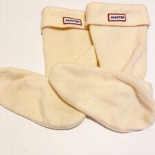 Authentic Hunter Tall Knit Boot insert fleece linen Sock M L beige cream socks