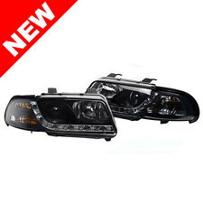 96-01 AUDI A4/S4 B5 ECODE PROJECTOR HEADLIGHTS W/ S5 STYLE LED DRL - BLACK