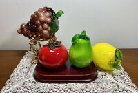 4PCS Vintage Murano Style Large Blown Art Glass Fruits Vegetables Cased Colors
