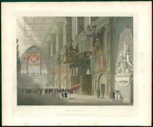 1808 Antique Print - London GUILDHALL Interior Ackermann (87)