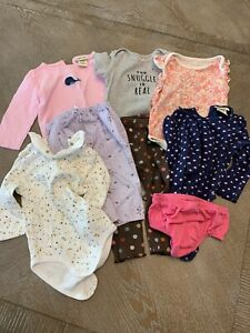Baby Girl 12 Months Long/short Sleeves Clothes Lot Of 8 Mixed Carters & Cherokee