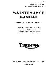 Triumph Workshop Manual Model 3 SW 350cc SV & 5SW 500cc SV