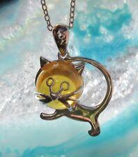 ciondolo gatto argento 925 con testa di Ambra farbenem cristallo