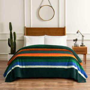 Pendleton Sherpa Blanket - EVERGREEN STRIPE (Select Size: Twin, Queen, King)