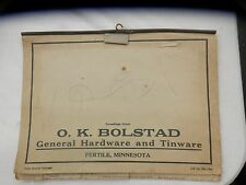 O K Bolstad hardware tinware FERTILE MN 1926 Farm Record Calendar complete NICE