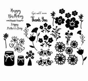 FLORAL SILHOUETTE VINYL DECAL STICKERS BIRTHDAY -THANKYOU- BUMBLE BEE