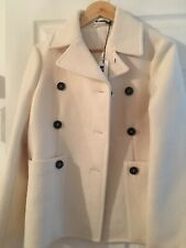 JIL SANDER WOOL PEACOAT CREAM WHITE DOUBLE BREASTED SIZE UK 8 Italy 40 RRP £1340