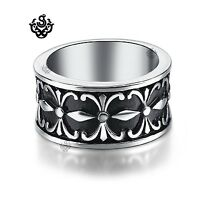 Silver fleur-de-lis engraved ring celtic solid stainless steel band soft gothic