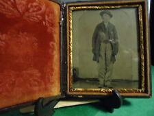 1/6 Plate Tintype Civil War Soldier Slouch  Hat, Service Coat in Full Case
