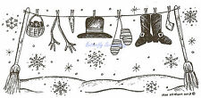 Snowman Clothesline Winter Wood Mounted Rubber Stamp Northwoods Rubber Stamp New