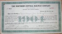 1904 Stock Subscription Certificate: 'Northern Central Railway Company' - Green