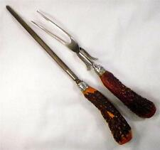 Vintage Stag Horn Carving Fork & Knife Sharpener Silver Bolsters