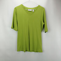 Denim & Co. Essentials V-Neck Elbow-Sleeve Rib Knit Top Deep Lime XS    A307546