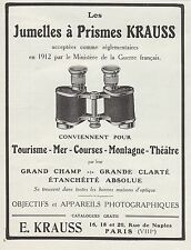 PUBLICITE   JUMELLES A PRISME KRAUSS OPTIQUE  BINOCULARS  AD  1913 -1H