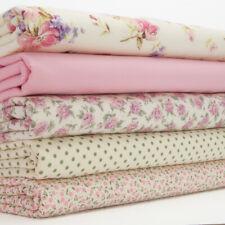 100% COTTON FABRIC BUNDLE Vintage Rose Pink Green Spot Floral Craft Material