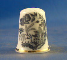 Birchcroft China Thimble -- Blue Willow Pattern with Free Dome Gift Box