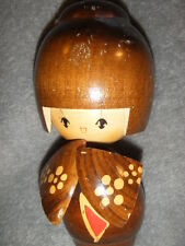 CREATIVE KOKESHI DOLL HAND  CARVED in BROWN, YELLOW & RED JAPANESE marked
