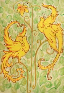 Vintage large floral gouache painting birds